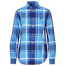 Buy Polo Ralph Lauren Relaxed Fit Plaid Cotton Shirt, Lake Blue/Navy Online at johnlewis.com