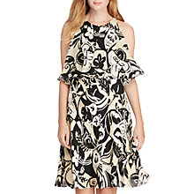 Buy Polo Ralph Lauren Cutout Shoulder Silk Dress, Black/Ecru Online at johnlewis.com