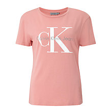 Buy Calvin Klein Shrunken Logo T-Shirt, Mauve Glow Online at johnlewis.com