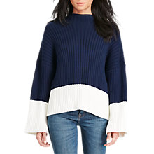 Buy Polo Ralph Lauren Bell Sleeve Colour Block Jumper, Bright Navy/Cream Online at johnlewis.com