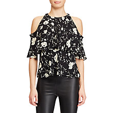Buy Polo Ralph Lauren Cutout Shoulder Silk Blouse, Black/Ecru Online at johnlewis.com