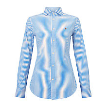 Buy Polo Ralph Lauren Stretch Slim-Fit Stripe Shirt, Blue/White Online at johnlewis.com