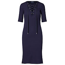 Buy Polo Ralph Lauren Ribbed Lace-Up Dress, Cruise Navy Online at johnlewis.com