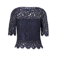 Buy Polo Ralph Lauren Scalloped Lace Top, Admiral Navy Online at johnlewis.com