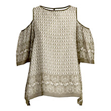 Buy Max Studio Cold Shoulder Printed Blouse, Khaki Online at johnlewis.com