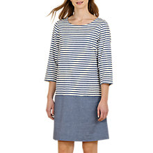 Buy Seasalt Hendra Vean Stripe Dress, Gwenn Squid Ink Online at johnlewis.com