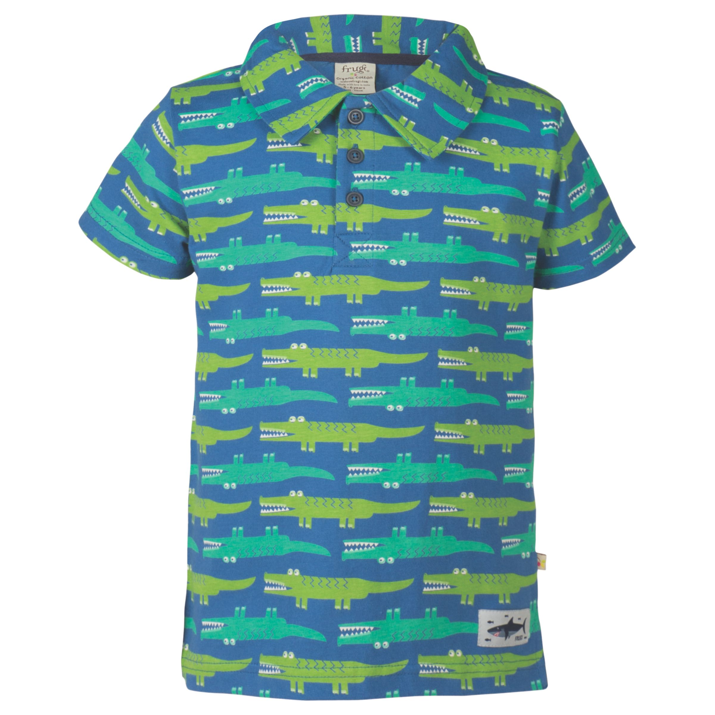 Frugi Organic Frugi Organic Boys' Crocodile Short Sleeve Polo Shirt, Green