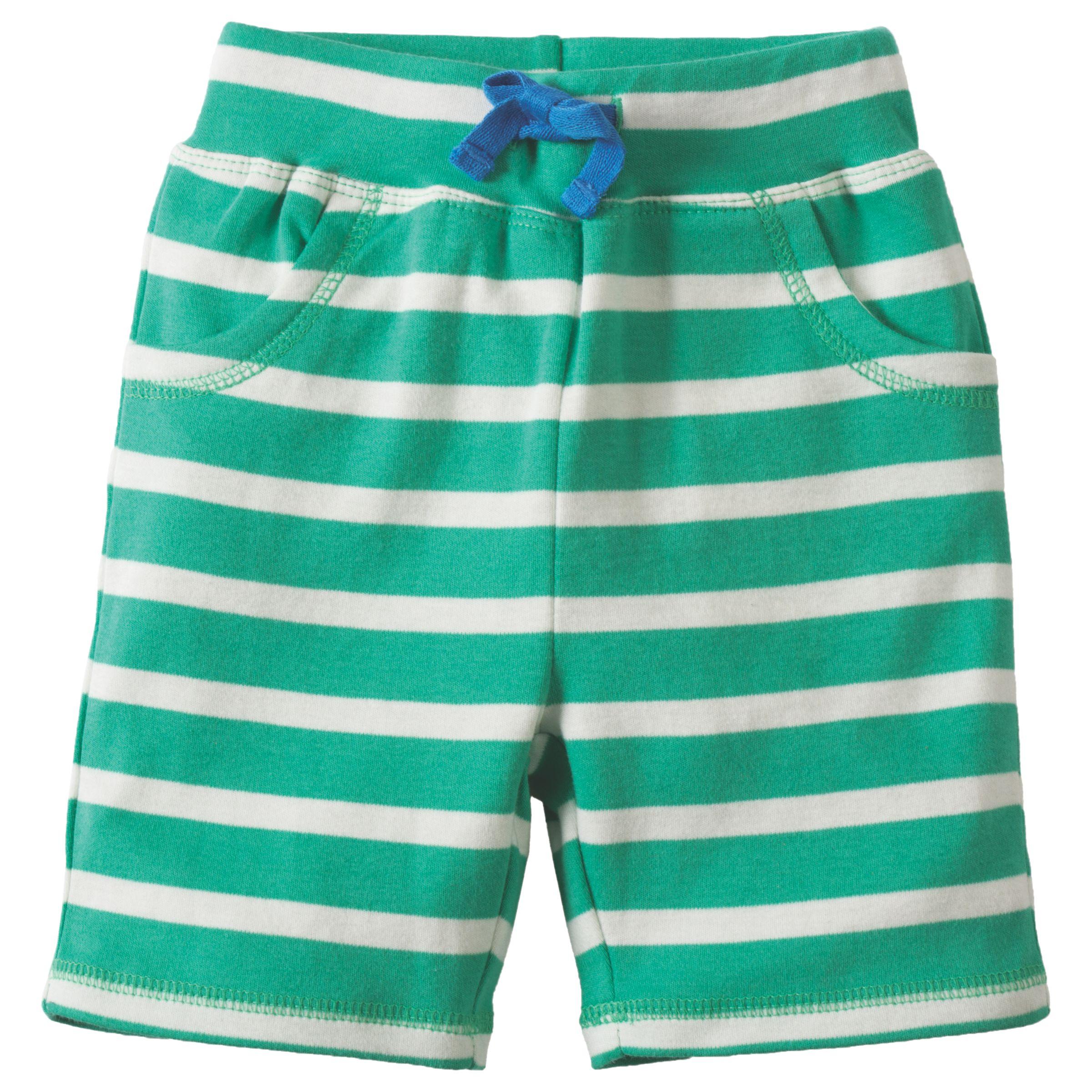 Frugi Frugi Organic Baby Little Stripy Shorts, Green/White