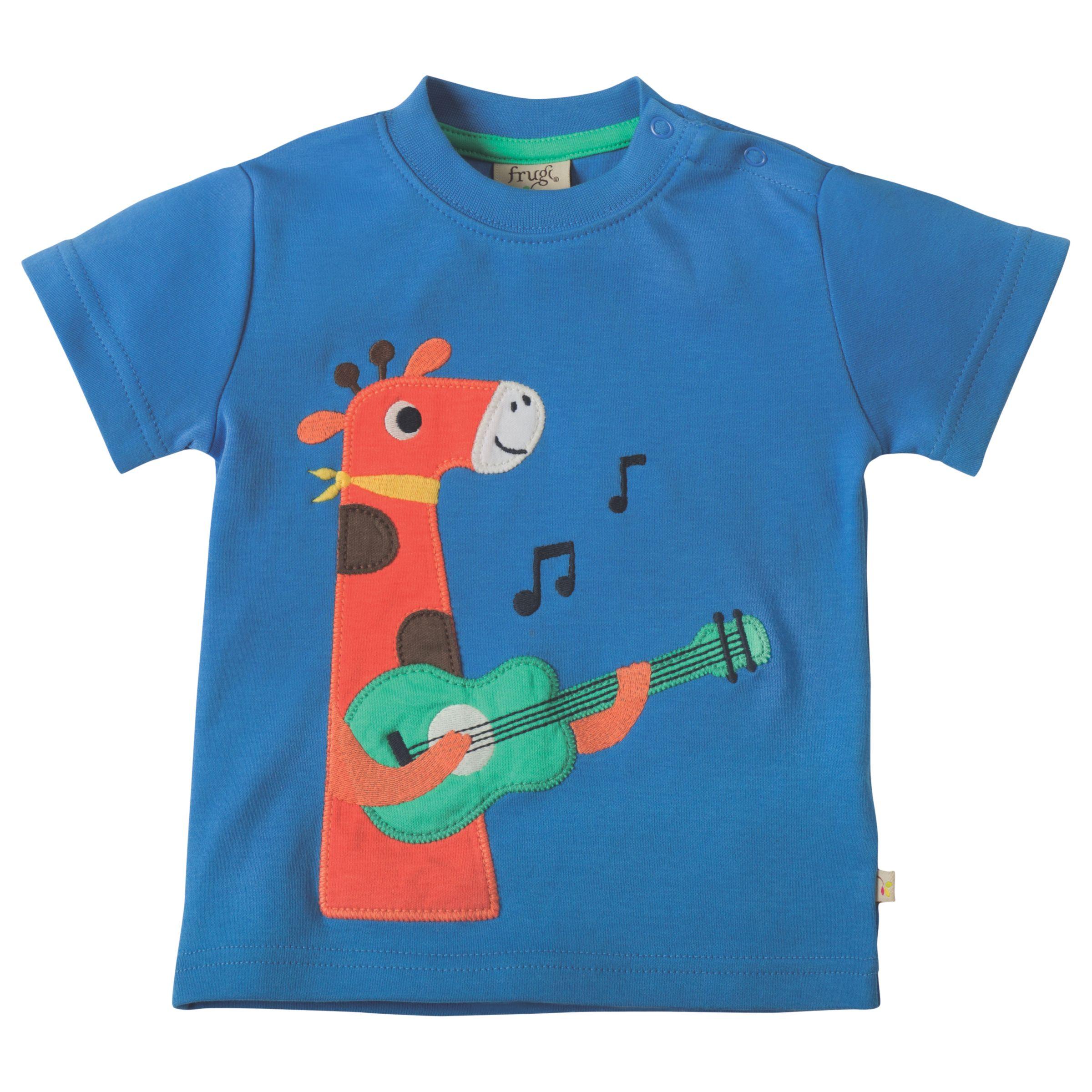Frugi Organic Frugi Organic Baby Little Creature Giraffe Applique Short Sleeve Top, Blue