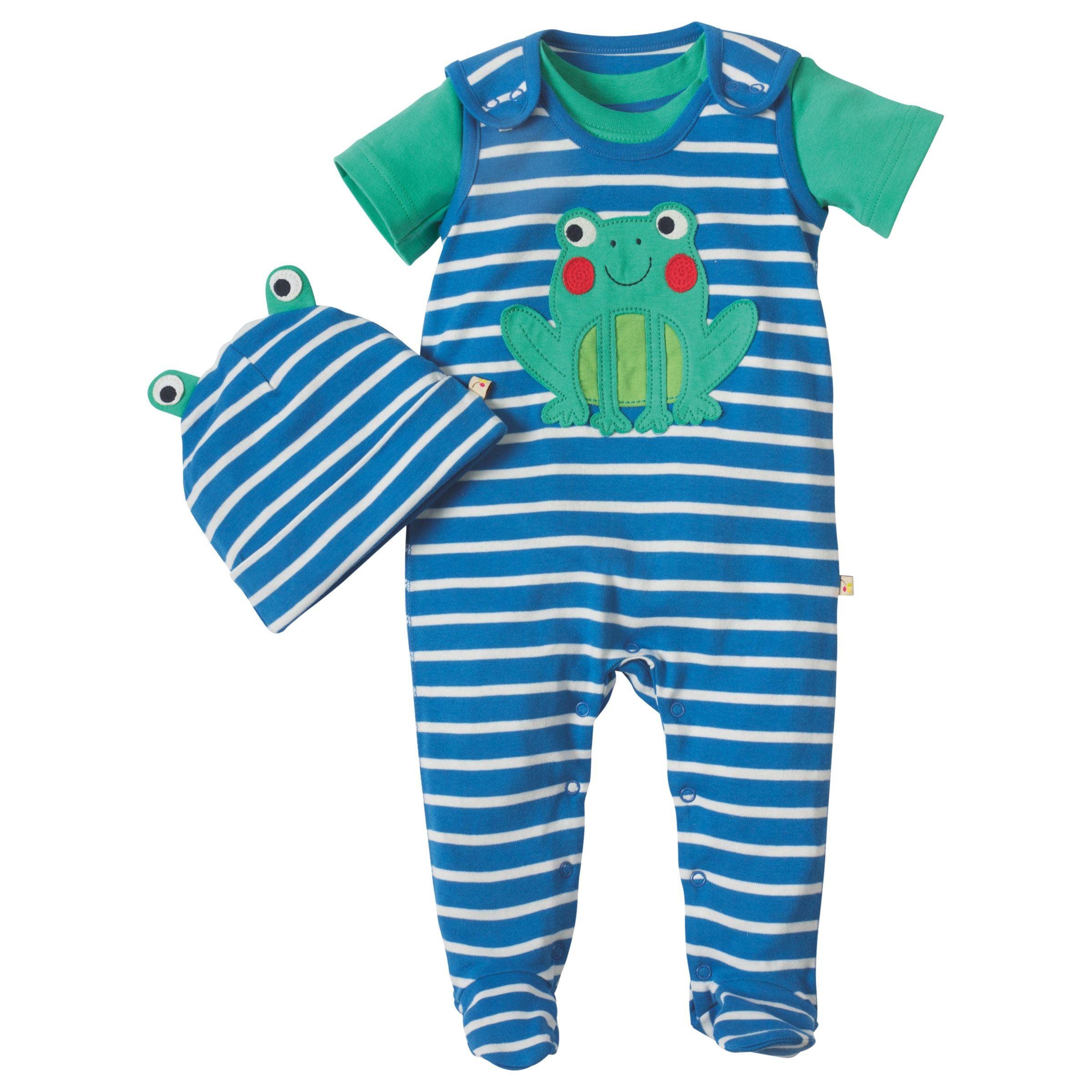 Frugi Organic Frugi Organic Baby Snuggle Frog Sleepsuit and Hat Gift Set, Blue/White