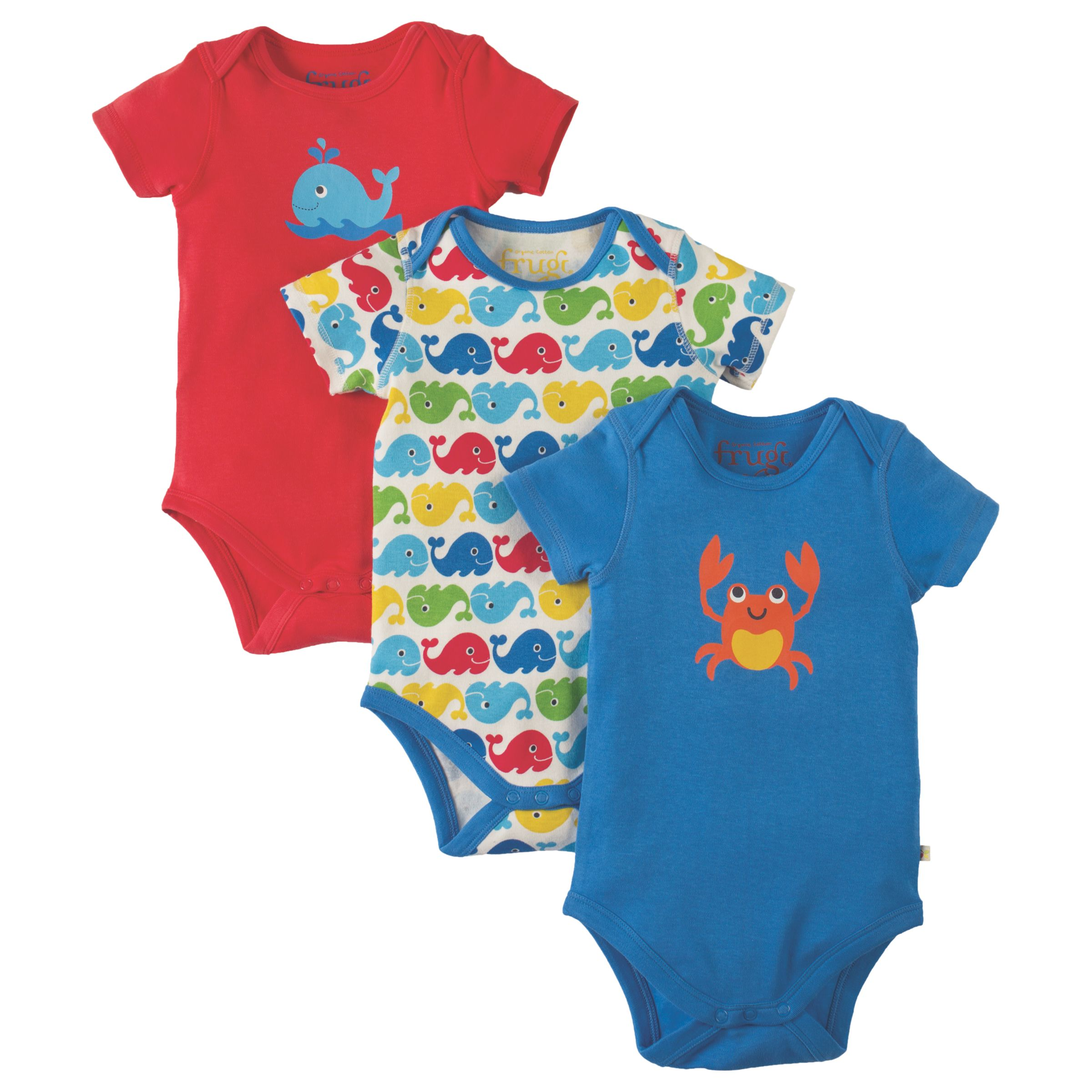 Frugi Organic Frugi Organic Baby Super Special Whale and Crab Bodysuit, Pack of 3, Navy/Multi