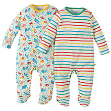 Buy Frugi Organic Baby Striped Zoo Print Sleepsuit, Pack of 2, White/Multi Online at johnlewis.com