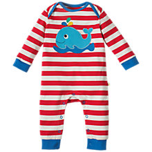 Buy Frugi Organic Baby Charlie Whale Romper, Red/White Online at johnlewis.com