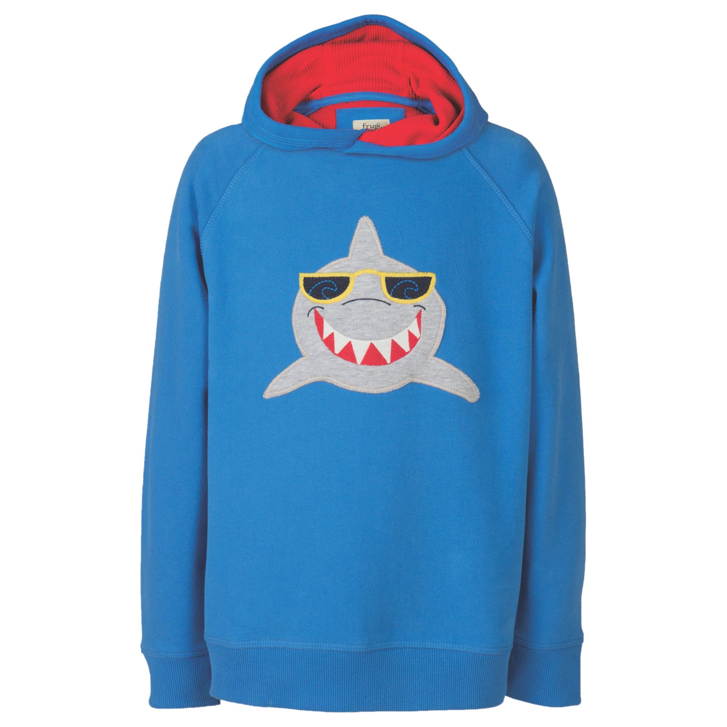 Frugi Organic Frugi Organic Boys' Hedgegrow Shark Hoodie, Blue