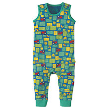 Buy Frugi Organic Baby Knee Patch Tractor Dungaree, Green/Multi Online at johnlewis.com