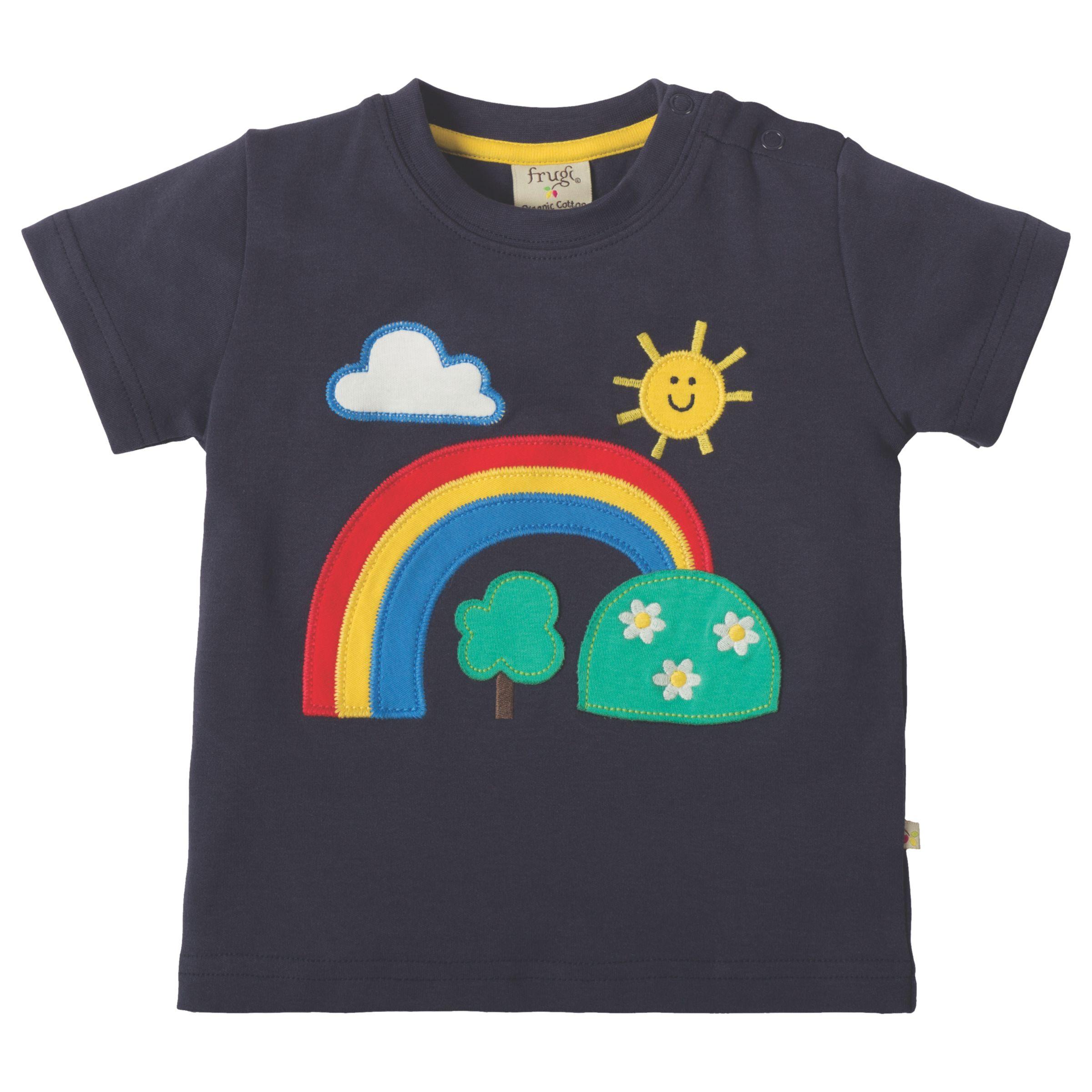 Frugi Organic Frugi Organic Baby Little Creature Rainbow Applique Short Sleeve Top, Navy