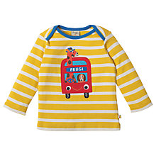 Buy Frugi Organic Baby Bobby Giraffe and Dog Applique Top, Yellow/White Online at johnlewis.com