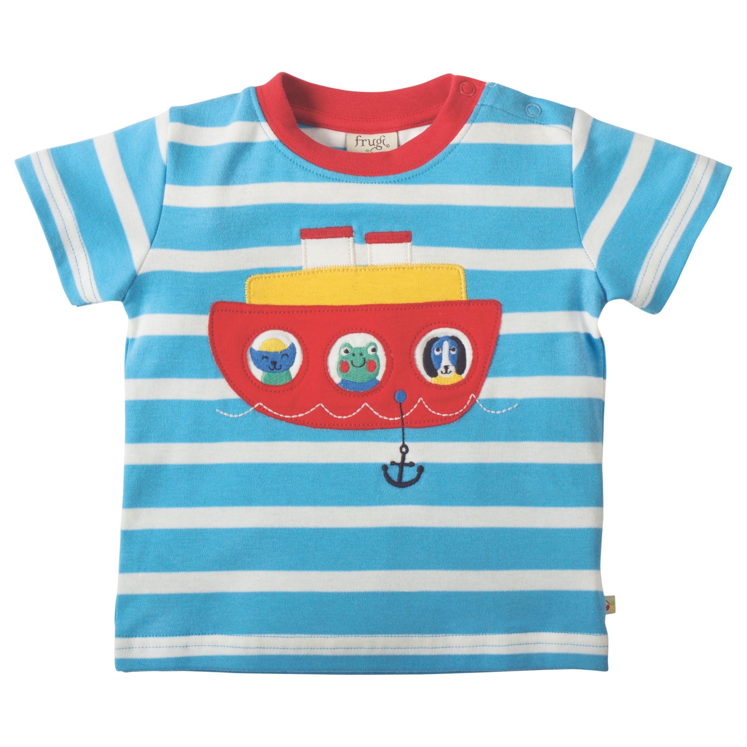 Frugi Organic Frugi Organic Baby Little Fal Applique Boat Short Sleeve Top, Blue/White