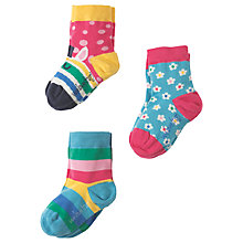 Buy Frugi Organic Girls' Susie Socks, Pack of 3, Multi Online at johnlewis.com