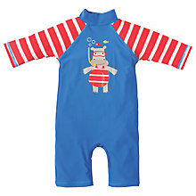 Buy Frugi Baby Sun Safe Little Hippo Swim Suit, Blue Online at johnlewis.com