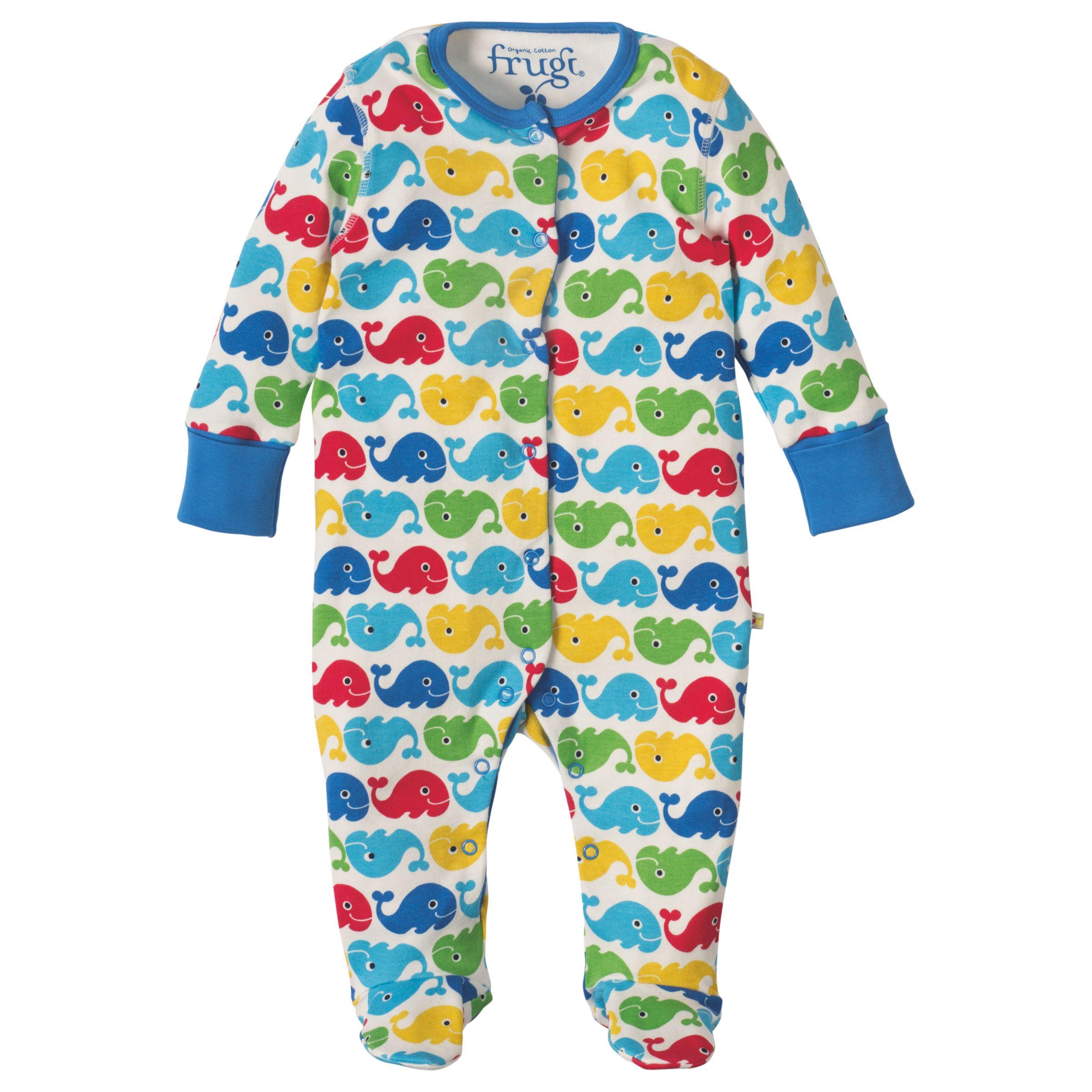 Frugi Organic Frugi Organic Baby Whale Print Sleepsuit, Multi