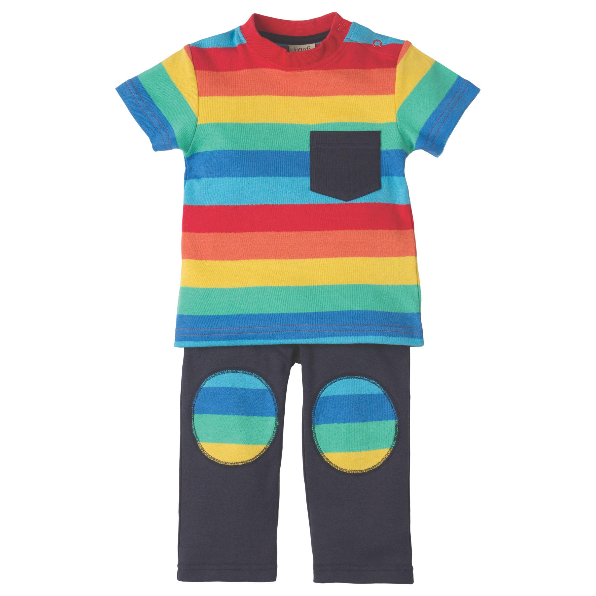 Frugi Organic Frugi Organic Baby Rainbow Play Day Outfit, Blue/Multi