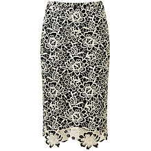 Buy Pure Collection Sofia Lace Pencil Skirt, Black/Gold Online at johnlewis.com