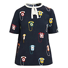 Buy Ted Baker Colour By Numbers Sylvi Telephone Print Tie Neck Top Online at johnlewis.com