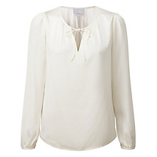 Buy Pure Collection Delilah Silk Satin Tie Neck Blouse, Ivory Online at johnlewis.com