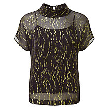 Buy Pure Collection Ciara Jacquard Top, Black/Gold Online at johnlewis.com