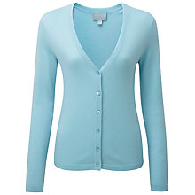 Buy Pure Collection Julie Cashmere V Neck Cardigan, Soft Aqua Online at johnlewis.com