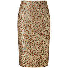 Buy Pure Collection Kingston Jacquard Pencil Skirt, Gold Online at johnlewis.com