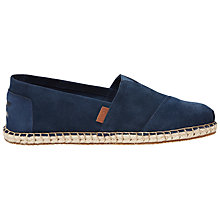 Buy Toms Suede Blanket Stitch Espadrilles, Navy Online at johnlewis.com