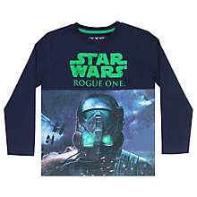 Buy Star Wars Boys' Rogue One Darth Vader Print T-Shirt, Navy Online at johnlewis.com