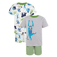 Buy John Lewis Children's Monkey Print Shortie Pyjamas, Pack of 2, Multi Online at johnlewis.com
