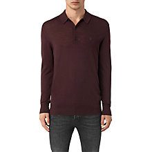 Buy AllSaints Mode Merino Long Sleeved Polo Top, Damson Red Online at johnlewis.com