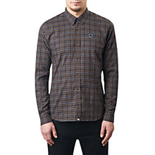 Buy Pretty Green Norgate Cotton Melange Check Shirt, Navy Online at johnlewis.com