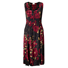 Buy East Alexandra Pleat Floral Dress, Crimson Online at johnlewis.com