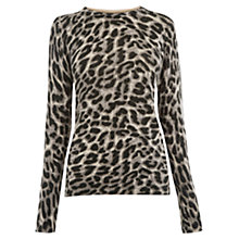 Buy Oasis Animal Print Perfect Crew Jumper, Mid Grey Online at johnlewis.com