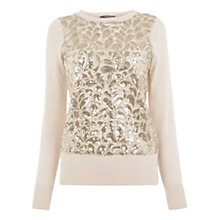 Buy Oasis Lace And Sequin Front Top, Multi Online at johnlewis.com