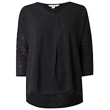 Buy White Stuff Stud Detail Jersey T-Shirt, Charcoal Online at johnlewis.com