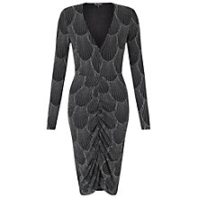 Buy Miss Selfridge Long Sleeve Glitter Dress, Black Online at johnlewis.com