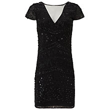 Buy Miss Selfridge Geo Bead Bodycon Dress, Black Online at johnlewis.com