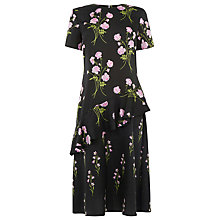 Buy Warehouse English Rose Pattern Dress, Black Online at johnlewis.com