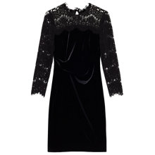 Buy Precis Petite Faith Lace Velvet Dress, Black Online at johnlewis.com
