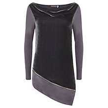 Buy Mint Velvet Velvet Front Asymmetric Knit, Grey Online at johnlewis.com