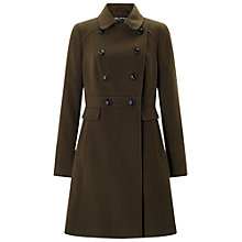 Buy Miss Selfridge Double Breasted Coat, Khaki Online at johnlewis.com