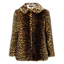 Buy Miss Selfridge Petite Leopard Coat, Mid Brown Online at johnlewis.com