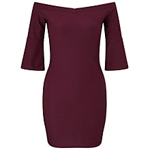 Buy Miss Selfridge Petite Bardot Flute Bodycon Dress, Burgundy Online at johnlewis.com