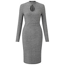 Buy Miss Selfridge Ribbed Keyhole Midi Dress, Grey Online at johnlewis.com